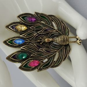Colorful Rhinestone Peacock Brooch or Pendant